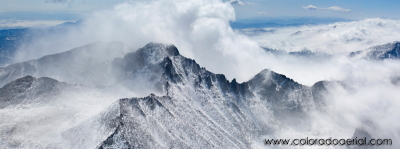 Longs Peak Aerial Panorama Photograph (Winter, Keyhole route)